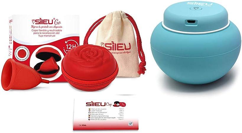 Sileu Travel Plus - Copa menstrual Sileu Rose, Talla L, Rojo, Flexibilidad Sport + Estuche en forma de flor Rojo, 8 cm + Esterilizador eléctrico ...
