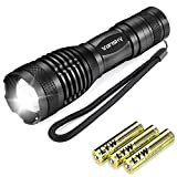 Led Torch, Vansky Handheld Flashlight Pocket Size Super Bright 800 Lumen Cree XML2 T6 Adjustable Focus Zoomable Waterproof Camping Outdoor Torch, 3 x AAA Batteries Included