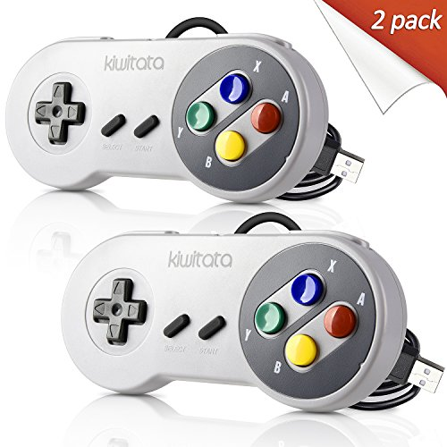 2 Pack Classic SNES USB Controller Gamepad,kiwitatá Retro USB PC Wired Game Controller Joystick for Windows PC MAC Linux Retro Pie