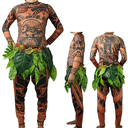 Maui Tattoo T Shirt/Pants Halloween Adult Mens Women Cosplay Costume (XXL)
