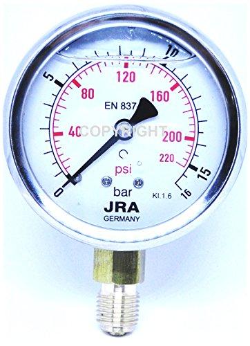 """JRA-Longlife Glyzerin Manometer 0-16 bar/psi NG63 Anschluss unten G1/4"""""""