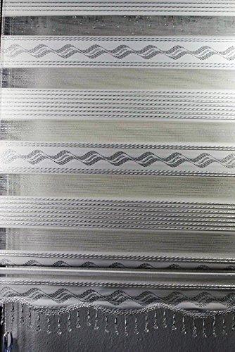 Duo blind dubbel rolgordijn met aluminium cassette lengte 200 cm (plafond tot vloer) in de kleur wit met zilveren patroon in verschillende breedtes brede verzwaring met volant parels 200 wit