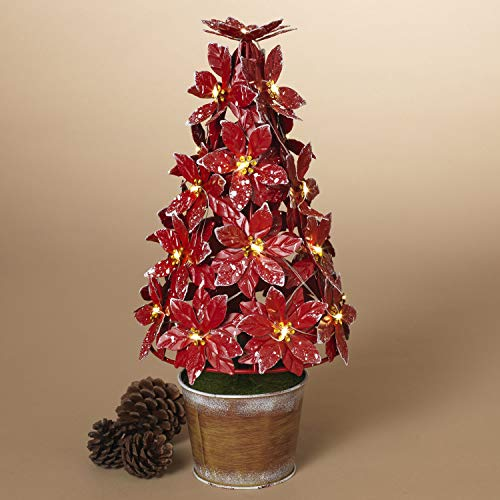 Orchid & Ivy 13.75-Inch LED Lighted Decorative Red Metal Artificial Poinsettia Christmas Tree Flower Plant in Pot - Battery Operated Holiday Home Decor