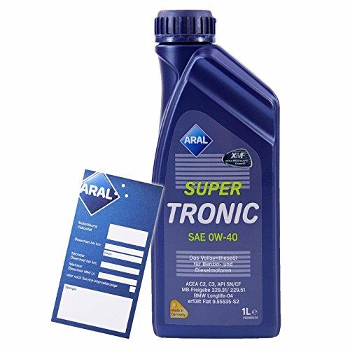 1 L Liter ARAL SuperTronic 0W-40 Motoröl inkl. Ölwechselanhänger