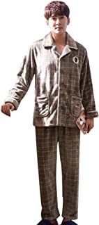 メンズパジャマ冬のフランネル肥厚+ベルベットパジャマメンズ暖かい秋と冬のモデルホームウェアセット パジャマ (Size : 165cm/m)