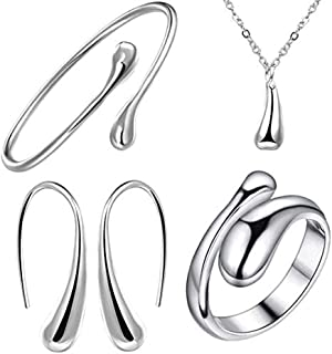 925 Sterling Silver Necklace Earring Ring Bangle Set for 4 Pcs