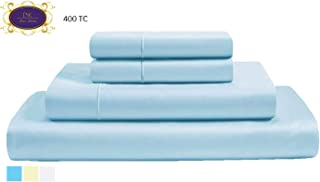400 Thread Count 100% Premium Cotton sheets, Fits Mattress Up to 15'' Deep Pocket, Sateen Weave, Sky Blue, King Size, 4-Pieces Set, Marrow Hem, Breathable, Hotel Luxury, Extra Soft Bed Linen set