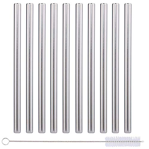 10 Pack Boba Straws In Stainless Steel - Reusable Metal Straws Best For Drinking Bubble/Boba Tea, Smoothies, Shakes - Extra Wide 0.5