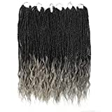 Goddess Senegalese Twist Crochet Hair Curly Ends Deep Wave Synthetic Braiding Hair Kanekalon Ombre Hair Extensions (18inch ,1B/Gray)
