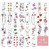 Pegatinas de tatuaje simulación a prueba de agua pequeño alfabeto inglés fresco geométrico pegatinas lindas-Tipo K_5.7 * 9.7cm 1 juego de 30 hojas