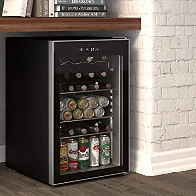 Cloud Mountain 126 Can or 37 Bottles Beverage Refrigerator or Wine Cooler with Glass Door for Beer, soda or Wine - Mini Fridge Used in the Room, Office or Bar - Drink Freezer for Party
