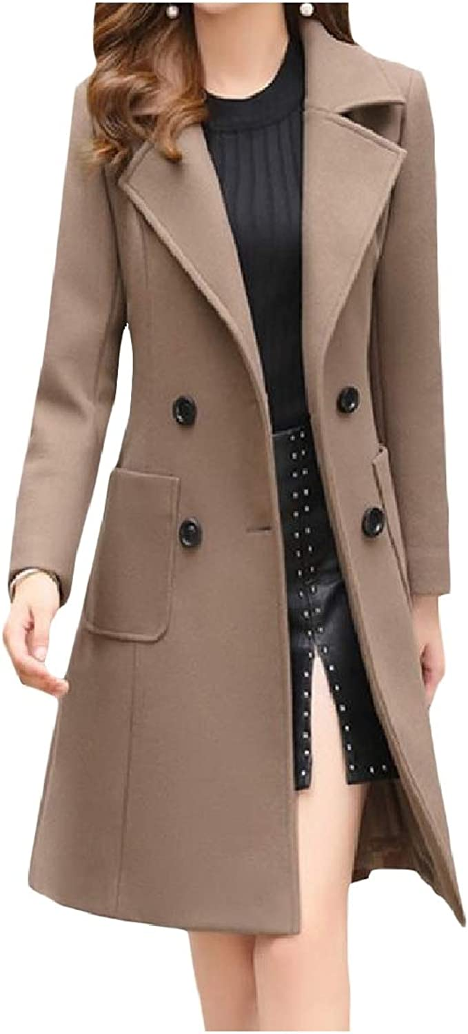 Winme Women Silm Fit WoolBlend MidLong Solid colord Winter Jacket Trenchcoat