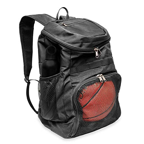 Xelfly Basketball Backpack with Ball Compartment – Sports Equipment Bag for Soccer Ball, Volleyball, Gym, Outdoor, Travel, School, Team – 2 Bottle Pockets, Includes Laundry or Shoe Bag – 25L (Black)