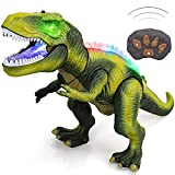 STEAM Life Remote Control Dinosaur Toys for Kids 3 4 5 6 7+ Light Up & Realistic Roaring Sound - T rex Dinosaur Toys - Electronic Walking Dinosaur Toys - Dinosaur Robot Toy for Kids Boys Girls (Green)