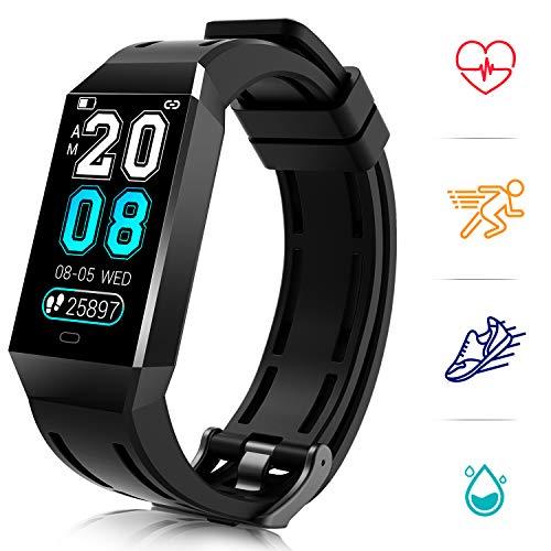 COULAX Fitness Tracker, Fitness Armband mit Pulsmesser SmartWatch Wasserdicht IP68 1.14 Zoll Farbbildschirm Aktivitätstracker Schlafmonitor Schrittzähler Kalorienzähler Smart Watch Uhr Herren Damen