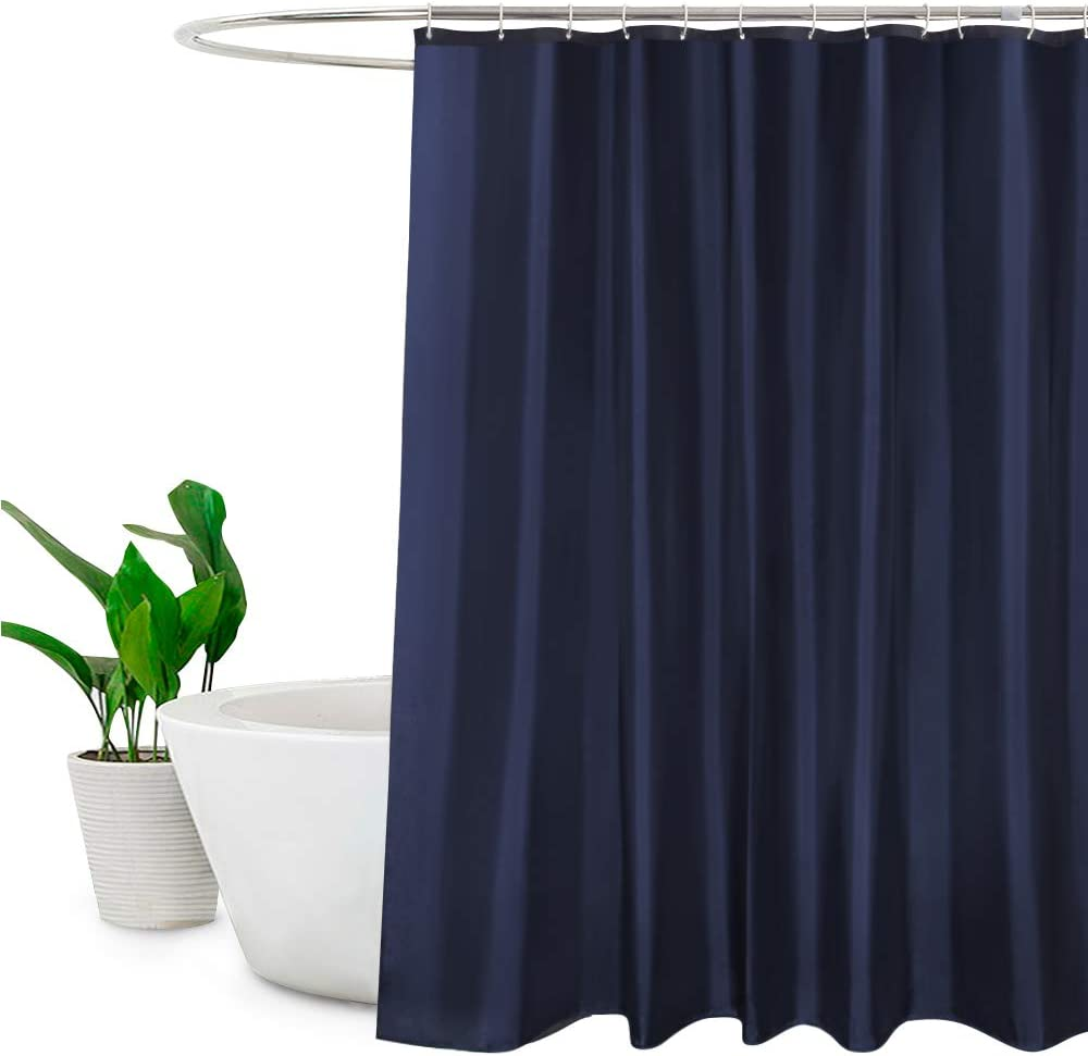 """EurCross Navy Blue Shower Curtains Mould Proof Resistant Washable, Quick Dry Water-resistant Fabric Bathroom Shower Curtain 180 x 180cm Drop with 12 Plastic Hooks 72""""W x 72""""L Blue"""