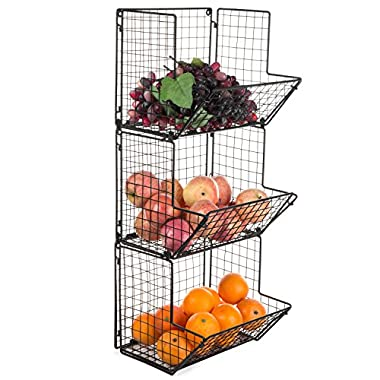 MyGift Rustic Metal Wire Wall-Mounted 3-Tier Storage Bin, Black