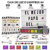 Caja de luz A4 MULTICOLOR con 215 tarjetas.10 láminas por fila....