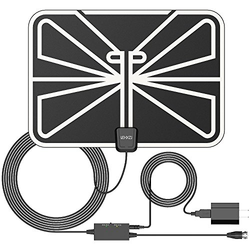 LEHXZJ 50 Miles Indoor Amplified HDTV Antenna with USB Power Supply and 16.5 Feet Coaxial Cable