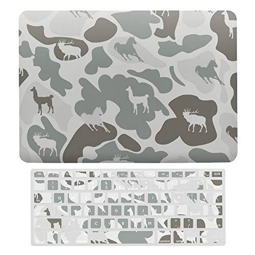 For MacBook Pro 13 Inch Case A1706, A198, A2159, Hard Shell & Keyboard Case Cover for Apple Mac Pro, Gray Camouflage And Animal Laptop Protective Shell Set