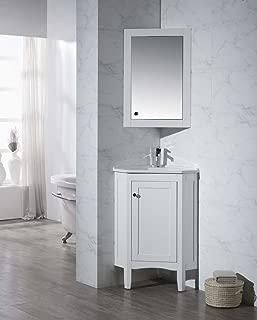 Stufurhome TY-650PW Modern Monte Corner Bathroom Vanity with Medicine Cabinet, White, 25