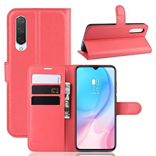 Fertuo Funda para Xiaomi Mi 9 Lite, Carcasa Libro con Tapa de Cuero Piel Wallet Case Flip Cover con Kickstand, Hebilla Magnetica, Ranuras para Tarjetas para Xiaomi Mi 9 Lite, Rojo
