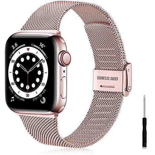 Ouwegaga Correa Compatible con Apple Watch Correa 38mm 40mm 41mm 42mm 44mm 45mm SE, Correa de Metal de Acero Inoxidable Compatible con iWatch Series 7 6 5 4 3 2 1, 42mm/44mm/45mm Oro Rosa