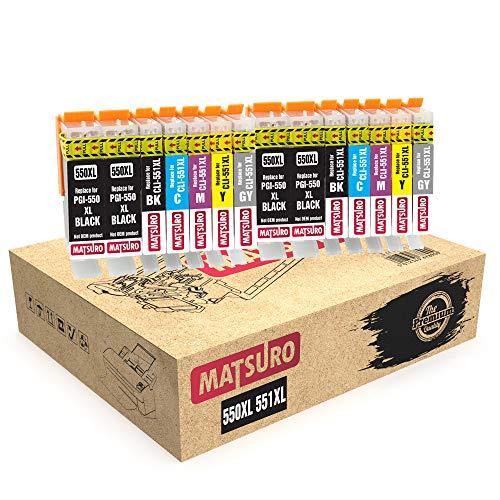 Matsuro Original | Compatible Cartuchos de Tinta Reemplazo para Canon PGI-550XL CLI-551XL 550 551 (2 Sets con Gris + 2 BK)