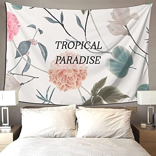 Hojas tropicales Flores Verde Rosa Verano Ambiente Decoración de la Sala Tapiz Colorido Para Dormitorio Estética Pared Tapiz 90*60 Pulgadas Prioridad Envío