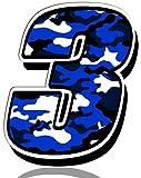 Biomar Labs® Número 3 Camuflaje Militar Azul Vinilo Adhesivo Pegatina Coche Auto Motocross Moto Sport Start Racing Tuning N 213