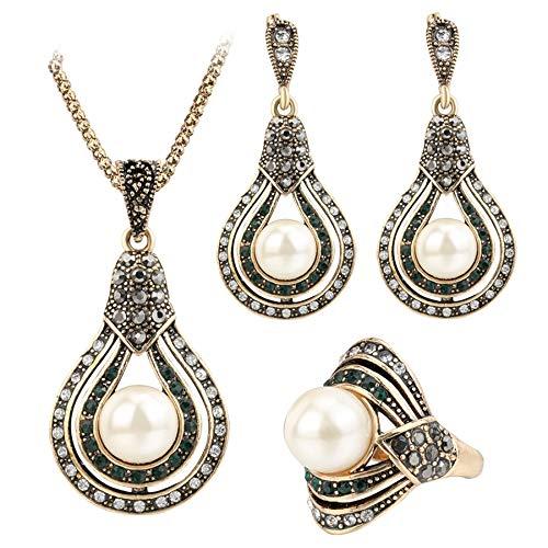 Pendientes De Clip Aros 3Pcs Conjuntos De Joyería Vintage para Mujer Anillo De Collar De Pendientes De Perlas De Oro Antiguo