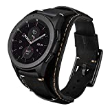 Leotop Compatible with Samsung Galaxy Watch 46mm/Gear S3 Frontier/Galaxy Watch 3 45mm/Classic Bands, 22mm Replacement Genuine Leather Cuff Strap with Stainless Steel Metal Buckle for Men Women (Black)