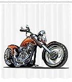 123456789 Cortina de Ducha de Dibujos Animados Moto Aventura Imprimir para baño