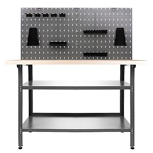 Ondis24 Werkstatteinrichtung 120 cm Werkbank Nobbi, Metall, Lochwand mit Hakensortiment (Arbeitshöhe 85 cm, Schwarz)