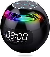 منبه SAILOS ساعة منبه رقمية مزدوجة مع أضواء ملونة مكبر صوت بلوتوث راديو FM تشغيل موسيقى مع بطاقة TF الاتصال حر اليدين (أسود)