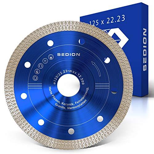 SEDION ® Diamanttrennscheibe 125 mm - Trennscheibe zum Trennen von harte Fliesen Keramik...