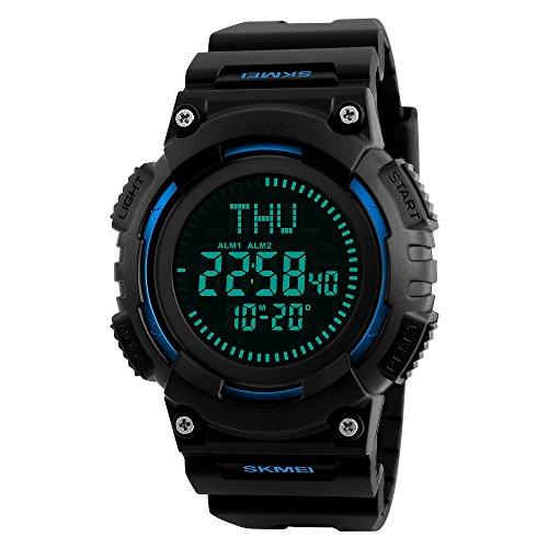 Brújula Reloj Deportivos Digital Impermeable, TONSHEN Hombre LED Display Outdoor Militares Táctica Plástico Goma Relojes de Pulsera 50M Resistente Agua 12H/24H Tiempo 3 Alarma Fecha (Azul)