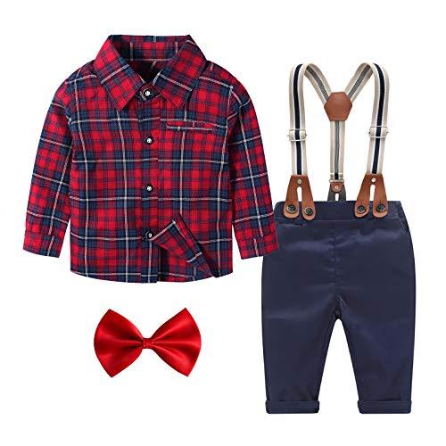 Yilaku Niñito Camisa de niño Niños Caballero Set de Ropa con Pajarita Pantalones de Tirantes Conjunto de Ropa