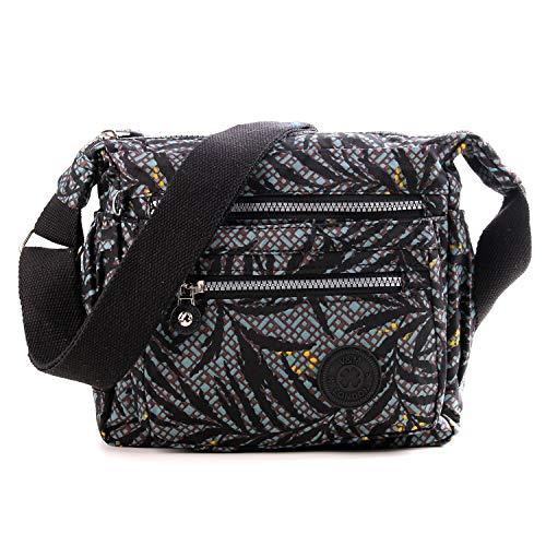 Wedmay Womens Multi Pocket Casual Cross Body Bag Travel Bag Messenger Handbag Satchel Hiking Daily Use (WM3206 Black Leaf)