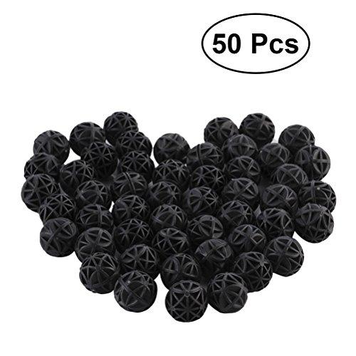 POPETPOP 50 stücke Aquarium Filter Bio Balls Bio-Kugeln für Filtration Reinigung (Schwarz)