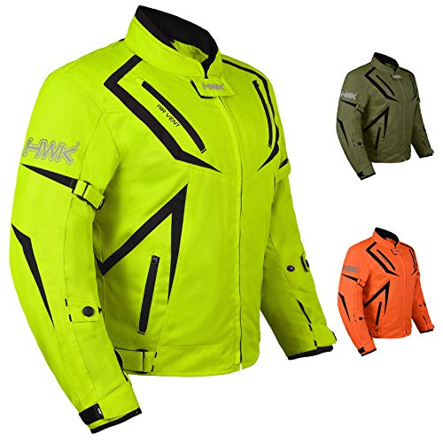 Motorcycle Jacket Riding HWK Mens Textile Motocross Dualsport Racing Hi-Vis Biker CE Armored Waterproof Jackets (H-Vis Green, XL)
