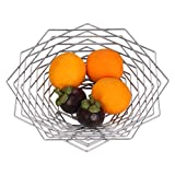 Buruis Large Fruit Bowl, ModernRegular Hexagon Design Fruit Container, Creative Fruit Basket, Candy Dishfor Kitchen Countertop Dining Room, Decorative Display Stand (Silver)