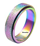 Moneekar Jewels Rainbow Metal Stainless Steel Spinner Ring Sand Blast Finish Rings