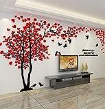 Albero Adesivo da Parete, Alberi e Uccelli 3D Adesivi Murali Arts Wall Sticker Decorativi per Soggiorno, Camera da Letto, Asili Nido, Ufficio, Bambini Stanze (M, Sinistra Rosso)