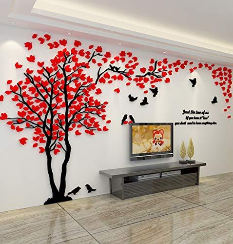 Albero Adesivo da Parete, Alberi e Uccelli 3D Adesivi Murali Arts Wall Sticker Decorativi per TV Par (M-250 * 130cm, Rosso Sinistra)