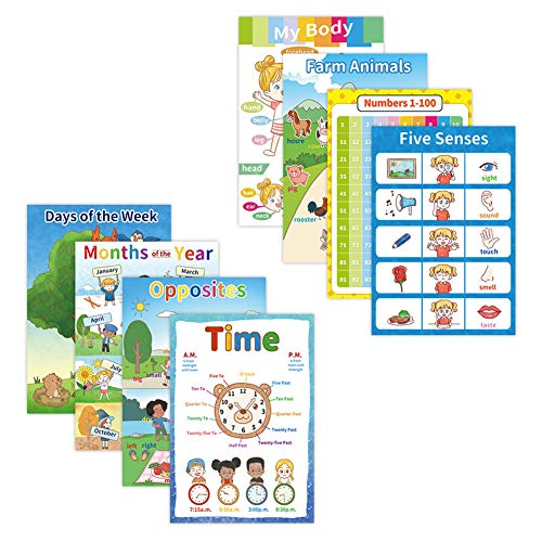 8 Educational Posters for Toddler and Kids, Perfect Learning Charts for Children Preschool,Kindergarten Classroom Decorations,Include Months, Opposites, Farm Animals and More-16x11 Inch