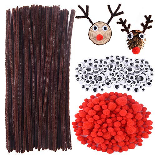 CHRORINE 830 Pcs Christmas Pipe Cleaners Craft Set, Christmas Craft Supplies, 150 Pcs Brown Pipe Cleaners Chenille, 360 Pcs Googly Eyes, 320 Pcs Red Pom Poms for Christmas Reindeer DIY Crafts