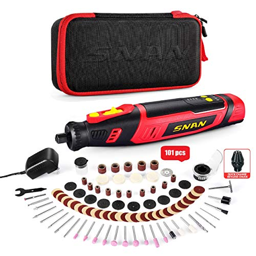 Cordless Rotary Tool, SNAN 8V Power 2.0 Ah Li-ion Battery with 100 Accessories and Shield Attachment, Long Endurance Power- Perfect for Sanding, Grinding, Cutting and Engraving -SERTD03
