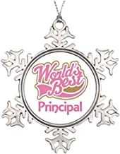Metal Ornaments Personalised Christmas Tree Decoration Cute Pink Worlds Best Principal Personalized Christmas Snowflake Ornaments