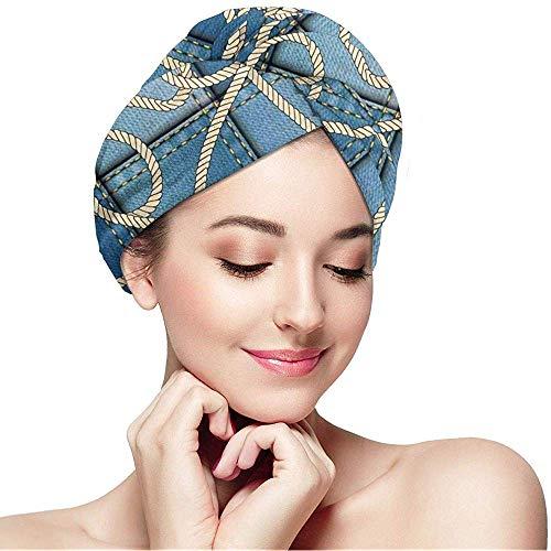 mahada Snel Droog Haar Wrap Handdoeken Turban,Diverse Patches Van Denim In Zee Met Zeeman Knot Rope Op Voorgrond Afbeelding Kunst
